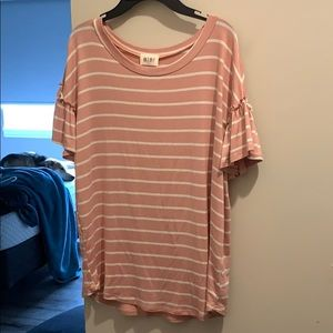 Super soft and cute pink and white short sleeve T